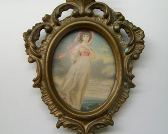 "Vintage Small PRINT painting ""Pinkie"" by Thomas Lawrence, Made in U.S.A, Plastic Resin Antique Motif Frame"