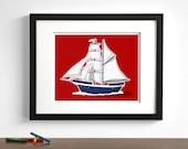 Sail Boat art print - boys transportion art - pick your colors- pirate ship, baby boy modern nursery wall art