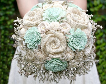 Rustic Mint Wedding Bouquet // Mint Green Bridal Bouquet, Mint, Cream Ivory, Dried Flower Bouquet, Burlap Bouquet, Bridal Flower Bouquet