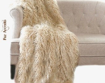 Faux Fur Sheepskin Throw Blanket - Shaggy - Soft - Thick Sand Beige - Fur Accents Designer Rugs and Throws USA