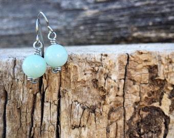 LAST ONE! Amazonite Earrings, Amazonite Dangle, Bridesmaid Gift, Blue Earrings, Gemstone Earrings, Dangle Earrings, Healing Crystals, Vegan