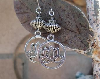 Boho Silver Lotus Flower Earrings - Yoga Zen Lotus Earrings