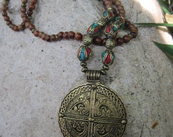 Medallion Pendant from Nepal on Long Wood Beaded Necklace featuring Turquoise and Coral Inlay Beads from Nepal