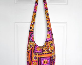 Hobo Bag Crossbody Bag Sling Bag Hippie Purse Boho Bag Vintage Hobo Bag Geometric Patchwork Vintage Hippie Bag Handmade Purse Retro Bag