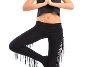 Fringe Leggings - Hiphugger Leggings - Extra Long Foldover Waistband Pants - Yoga Fringe Pants - Stretch Cotton Pants Sizes XS, S, M, L, XL