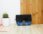 Coin purse/ Tiny pouch/ Black velvety leather and pineapple printed cotton fabric