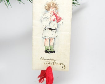 Early 1900's Original Pen and Ink Drawing, Hand Painted Merry Christmas Ornament