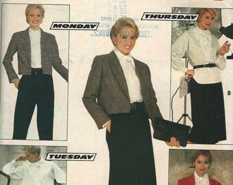 PATTERN Butterick 6080 Cropped jacket loose long sleeve shirt straight pants skirt wardrobe scarf Size 14-16-18 (uncut)