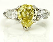 "Estate ""Canary"" GIA  2.23ct Natural Fancy INTENSE YELLOW Pear Shaped Diamond Three Stone Engagement Ring in Platinum"