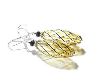 Blown Glass Amber Earrings, Sterling Silver Leverbacks, Venetian Glass Jewelry, Topaz Hollow Glass Earrings, Murano Glass Earrings, Clip Ons