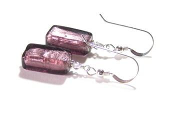 Murano Glass Amethyst Rectangle Silver Earrings, Leverback Earrings, Venetian Jewelry, Italian Jewellery, Clip Ons, Purple Lampwork Earrings