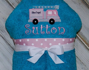 Personalized Girly Firetruck Hooded Towel