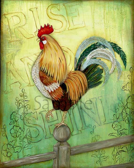 Rise & Shine Rooster 11x14 Kitchen Wall Art Rooster Decor