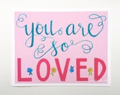 Art print you are so loved pink hand lettering kids wall art