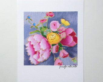 CLEARANCE Bright modern floral art print flower painting