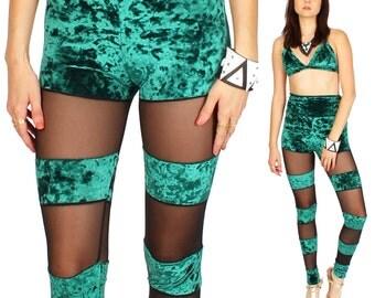 SALE XS Hunter Green Velvet Mesh Leggings