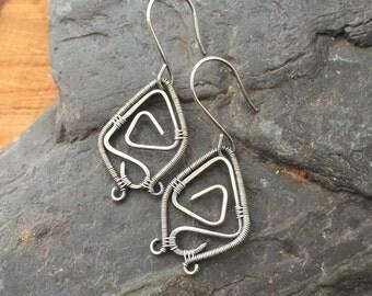 Wire Wrap, Wire Wrap Earrings, Sterling Silver Earrings, Wire Wrapped Earrings, Spiral Earrings, Sterling Silver Spirals, Geometric Jewelry