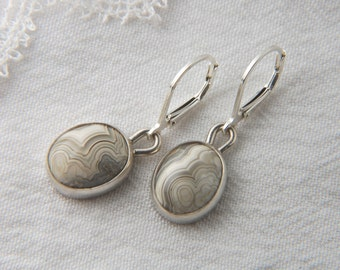 Lace Agate Earrings Artisan Earrings Small Drop Earrings Handmade Silver Earrings Artisan Jewelry Lace Agate Jewelry