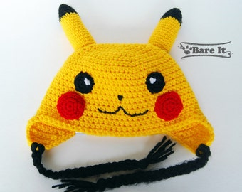Premium Soft Crochet Pikachu Hat Beanie Toque Inspired by Pokemon Available Sizes Baby to Adult Color Yellow