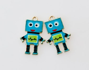 ChrmBlE323 - Gold-Plated Blue and Green Enamel Robot Charms - 2 Pieces