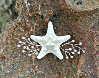 Starfish Wedding Hair Accessory - Handmade Wire Wrapped Beaded Pearl White Knobby Bridal Alligator Clip Nautical Coastal Mermaid- TheSandbar