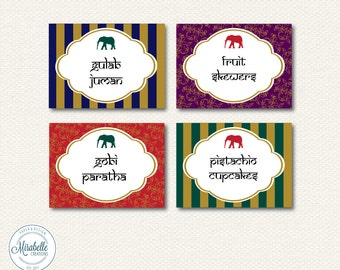 PRINTABLE Placecards /  Fancy Labels -- Golden Indian Party Collection -- Mirabelle Creations