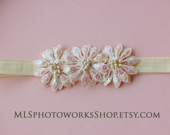Iridescent Ivory Triple Flower Headband - Baby Girl Shiney Ivory Hair Bow for Dressy or Casual Occasions - Girls Ivory Baptism Headband
