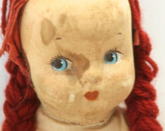 Vintage Primitive Rag Doll Creepy Red Head Ginger Braids Pressed Fabric Molded Cloth Face Stained Loved Cherished Worn inevitably neglected