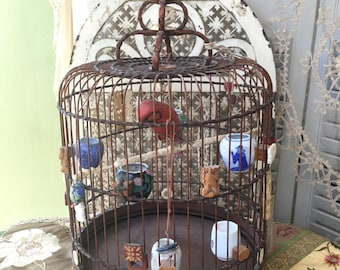 Gorgeous Antique Chinese Bird Cage Fitted with Pottery Bird with Glass Eyes and Darling Little Feeders