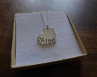 Chunky Silver Personalised Heart and Name Pendant Necklace