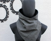 Unisex scarf. Men and women cowl,Wide, Oxford grey wool with metalic snaps . Modern  and cozy. Mens winter. Husband gift. Father gift.