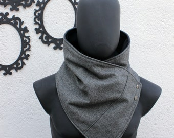 Unisex scarf. Men and women cowl,Wide, Oxford grey wool with metalic snaps . Modern  and cozy. Mens winter. gift for men, women