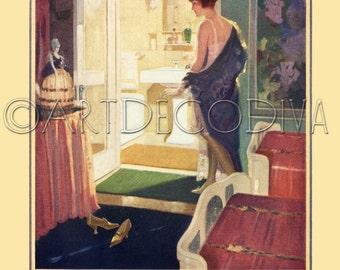 Vintage 1920's DECO Flapper Girl POWDER Room Bath Bathroom Tub Sink Advertising Poster Fine ART Print