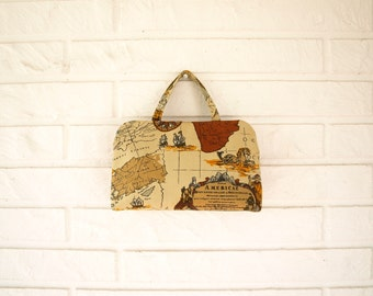 Vintage 60s canvas travel tote bag passport holder small book bag carry on bag