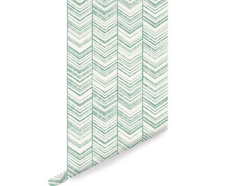 Herringbone Wallpaper, Peel and Stick Wallpaper, Repositionable, Modern Mint W1020