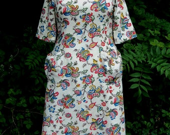 Vintage Barkcloth Pocket Dress