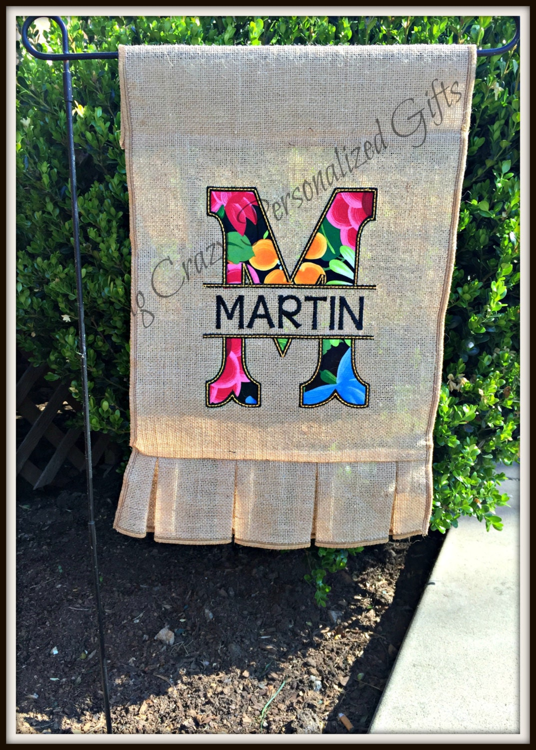 Personalized garden flags burlap garden flag by ragcrazy for Design your own front yard