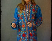 Stunning hand embroidered cashmere coat / long vintage turquoise blue Indian wool coat / colourful embroidery threads / haute hippie