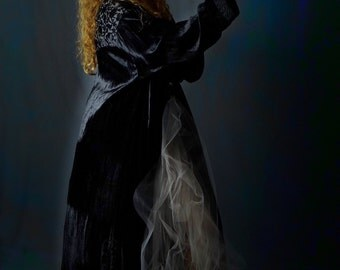 Oversize long velvet kimono / huge vintage gothic black silky duster /  witchy burnout devore opera coat / Stevie Nicks style