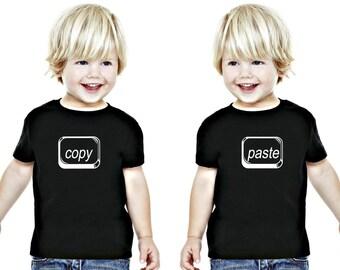 Twins Copy Paste T-shirts, Twin Geek T-Shirt Design, Toddler Twin T-shirts, Kids Clothing for twins, Twin Boys Clothing, Twin Girls Clothing