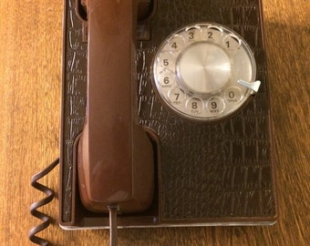 Vintage Rotary Phone Brown Faux Leather Telephone  Rotary Desk Phone Retro Office