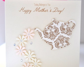 Mother's Day Greeting Card: 'Teapot & Flower Petals'