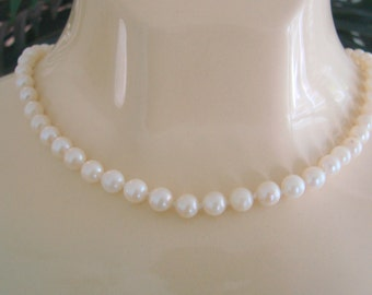 Art Deco Sterling Cultured Pearl Necklace / Hand Knotted Pearls / Wedding Bridal / Jewelry / Jewellery