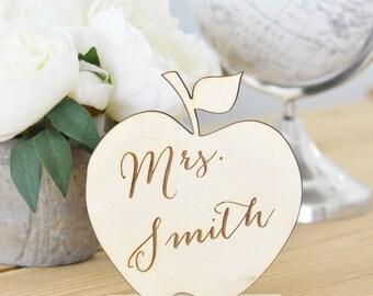 Personalized teacher gift- apple teacher's name sign -teacher classroom decor