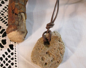 Natural Hag Stone Pendant on brown leatherette cord
