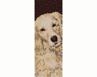 Golden Retriever Peyote Bead Pattern, Dog Pattern, Bracelet Cuff, Seed Beading Pattern Miyuki Delica Size 11 Beads - PDF Instant Download