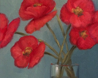 Original Oil Painting Poppies In Vase