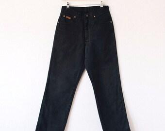 True Vintage Wrangler Jeans >> Straight Leg High Rise Black Denim >> UK 10 / EU 38 / US 6 / Waist 27 Leg 30