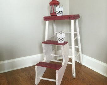 Vintage Wood Step Stool with Folding Steps