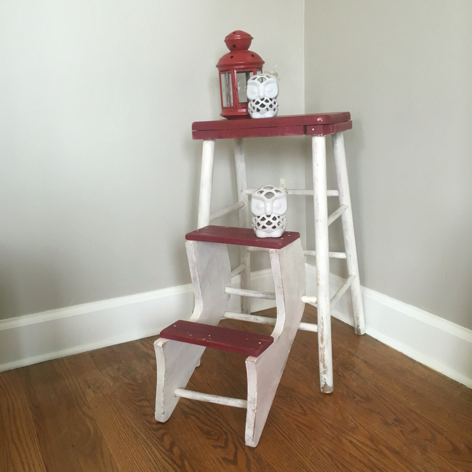 vintage wood step stool with folding steps. Black Bedroom Furniture Sets. Home Design Ideas